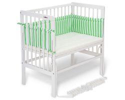 FabiMax Beistellbett BOXSPRING weiß, inkl. Matratze und Nestchen Betty grün