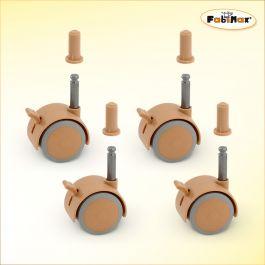 FabiMax Parkettrollensatz mit Bremse für Kindermöbel, 4 Stück, beige